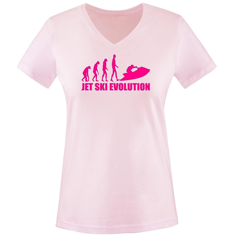 JET SKI EVOLUTION - Einfarbig - Damen V-Neck T-Shirt - Gr. XS bis XXL Diverse Farben