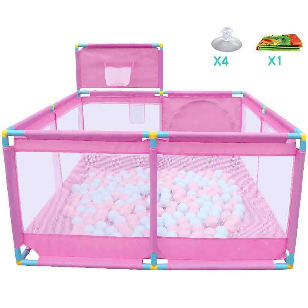 ポータブル安全な子供たちは、息子と赤ちゃんのための通気性のメッシュで、コンパクトな最高の赤ちゃんの再生庭を屋内と屋外用 (色 : Pink, サイズ さいず : 128X128X66CM+Basketball hoop) 128X128X66CM+Basketball hoop Pink B07L2C7Y62