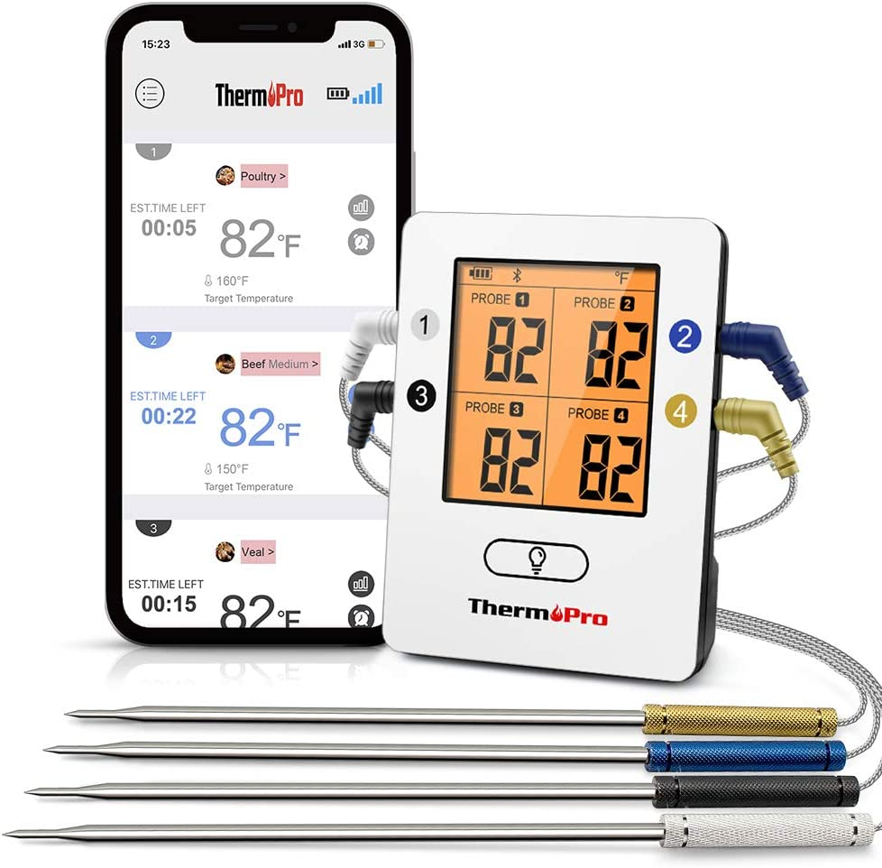 ThermoPro TP25 500ft Wireless Bluetooth Meat Thermometer with 4 Temperature Probes Smart Digital Cooking BBQ Thermometer for Grilling Oven Food Smoker Thermometer, Rechargeable