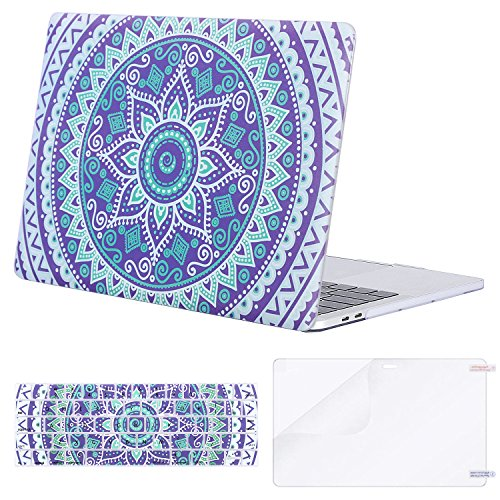 MOSISO MacBook Pro 13 Case 2018 2017 2016 Release A1989/A1706/A1708, Plastic Flower Pattern Hard Shell & Keyboard Cover & Screen Protector Compatible Newest Mac Pro 13 Inch, Purple Mandala