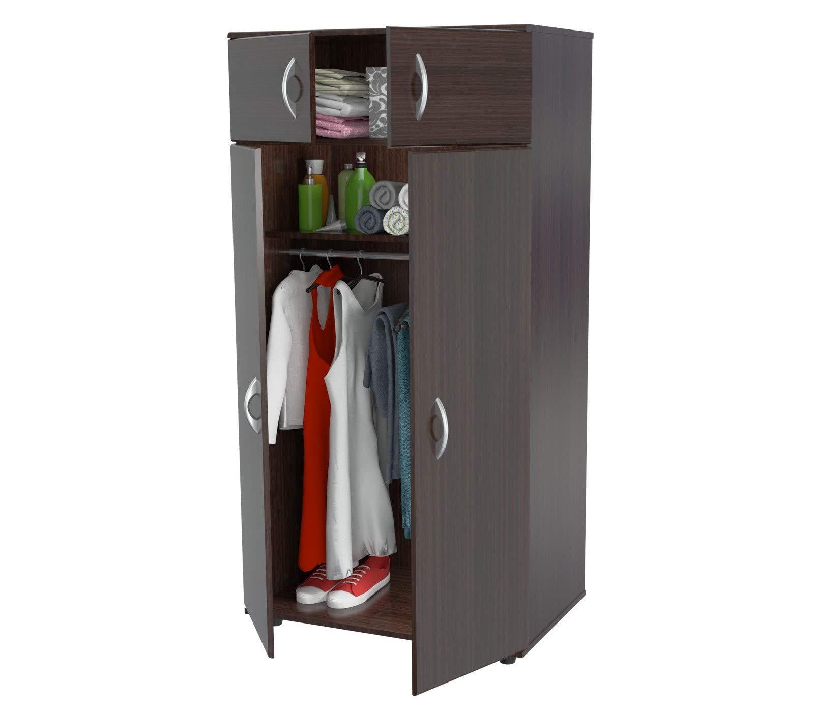 Inval AM-2823 4-Door Armoire Wardrobe, Espresso by Inval