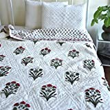 Bundi, Jaipuri Quilt/ Razai, Hand Block Printed and Handmade ~ Queen Size 90X60 Inches
