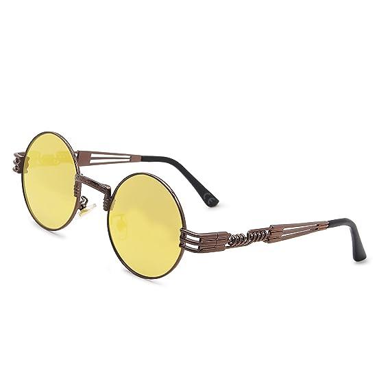 Men Women Round Lens Sunglasses Circle Frame Vintage Fashion Steampunk Glasses