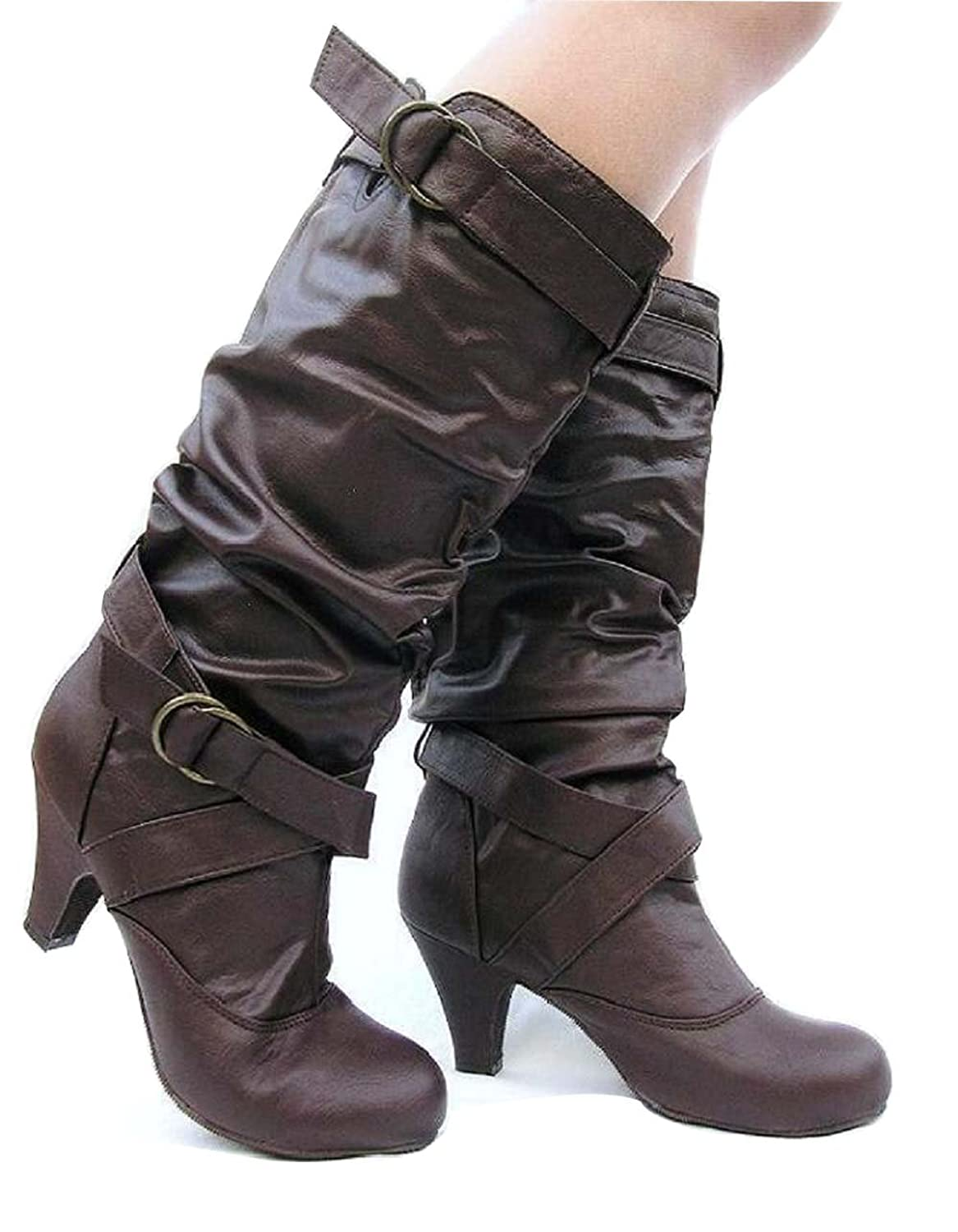 Codify Floyee-S Women's Mid Calf Slouch Buckle Decorative Riding Boots, Brown Leatherette, 10 B (M) US