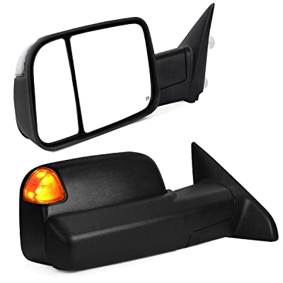 YITAMOTOR Towing Mirrors Compatible with Dodge Ram, Tow Mirrors with Power Heated LED Turn Signal Light Puddle Lamp, Replacement for 2013-2020 Dodge Ram 1500 2500 3500: Automotive