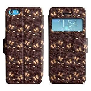 LEOCASE mariposa blanca Funda Carcasa Cuero Tapa Case Para Apple iPhone 5C No.1003798