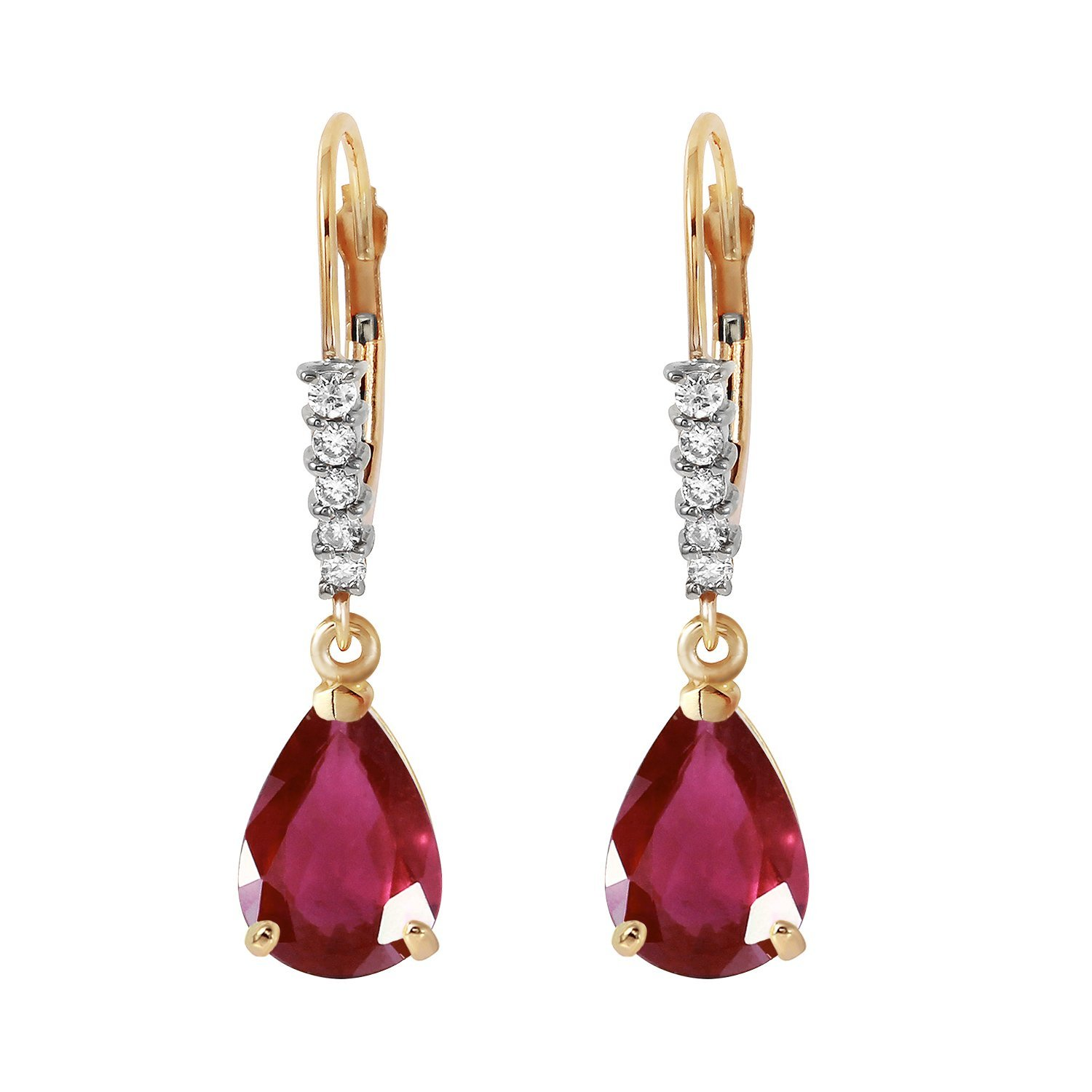 3.15 Carat 14k Solid Gold Leverback Earrings with Natural Diamonds and Rubies by Galaxy Gold (Image #2)