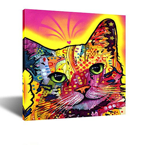 Kreative Arts Abstract Cat Canvas Wall Art,Colorful Pet Pop Art Prints, Framed Canvas Print Ready to Hang 24''x24''