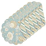 C&F Home Natural Shells Cotton Quilted Round Cotton Reversible Placemat Set of 6 Round Placemat Set of 6 Blue
