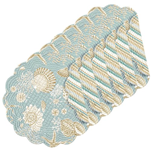 - C&F Home Natural Shells Cotton Quilted Round Cotton Reversible Placemat Set of 6 Round Placemat Set of 6 Blue
