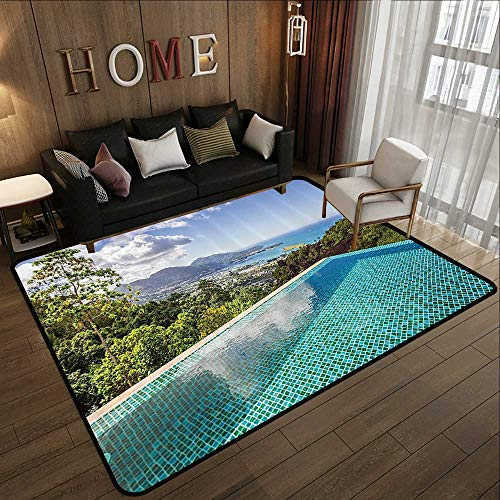 Carpet Flooring,House Decor Collection,Panoramic View of Islands Seychelles from Crystal Clean Pool Relaxation Image Print,Blue Green 47