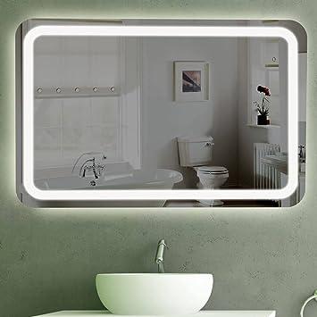 Badspiegel LED beleuchtet | London (100x70): Amazon.de: Küche & Haushalt