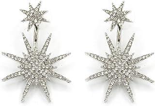 LUFA 1 paio Double Star fiocco di neve orecchini per i monili delle donne Femme Big Classic