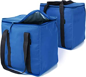 Urban House (2-Pack) Blue Premium Grade Insulated Grocery Shopping Cooler Bag with Heavy Wall Insulation and Zipper Top Lid Keeps Food Cold or Hot, Large (13