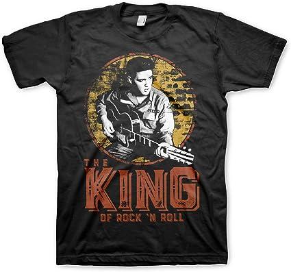 ELVIS PRESLEY Oficialmente Licenciado The King of Rock n Roll Camiseta para Hombre (Negro)