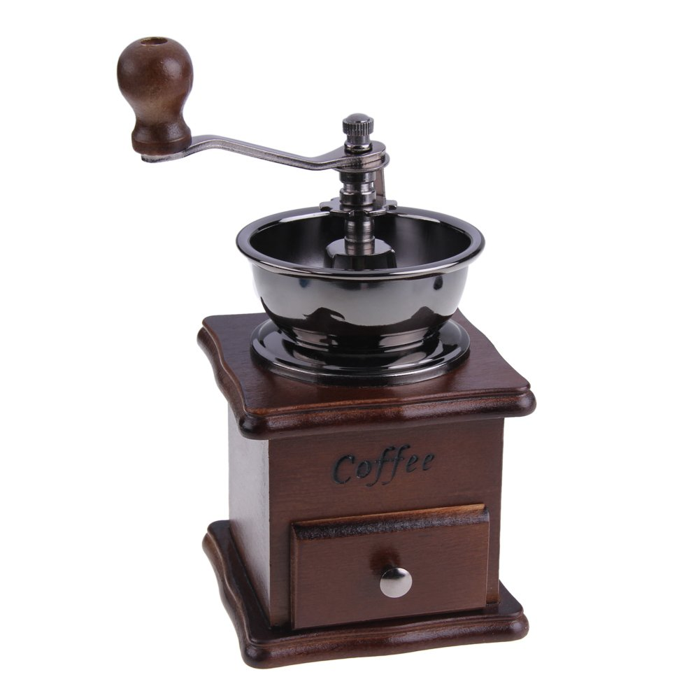 ttnight Mini Manual Coffee Grinder Mill Wood Stand Bowl Antique Hand Coffee Bean Grinder (Maroon)