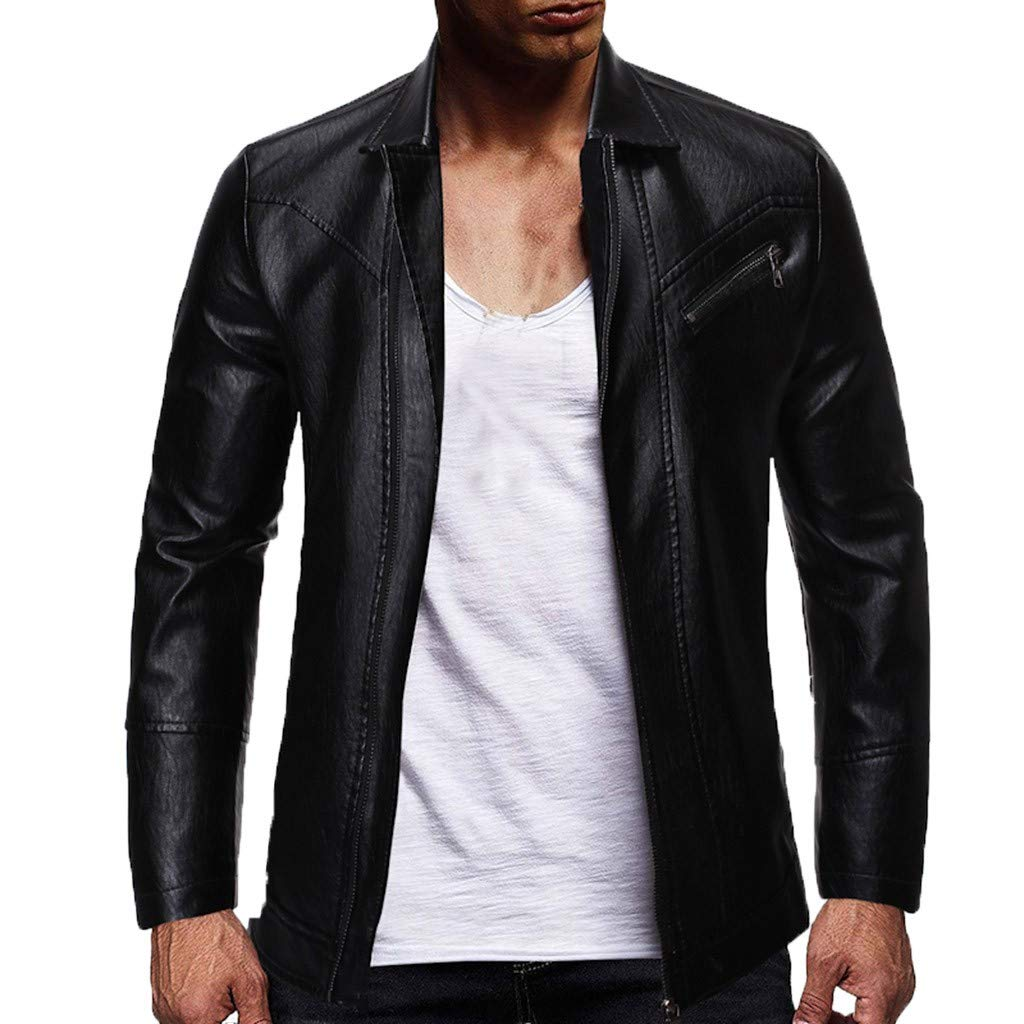 Allywit Black Leather Jacket Men - Motorcycle Mens PU Leather Jackets Coat Big and Tall