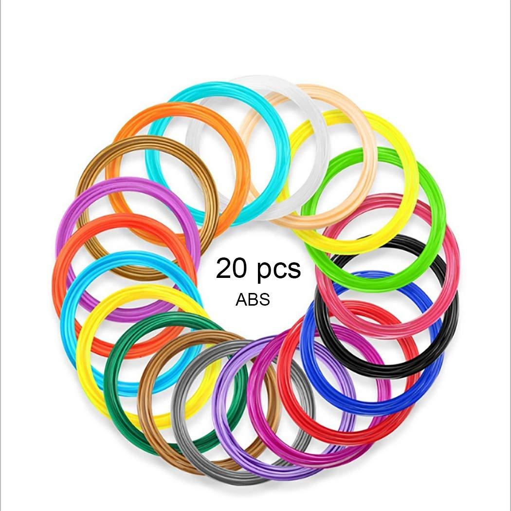 3D Pen Filament 1.75mm ABS- 3D Pen Refills (20 Colors, 16.4 Feet Each), 3D Printer Filament for 3D Print Pen