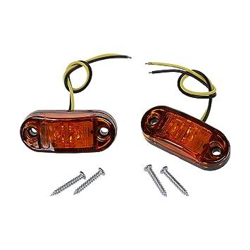 SODIAL(R)2 x Bombilla Lampara Luz Intermitente Marcador lateral LED Pirana Remolque para Camion Coche ambar: Amazon.es: Coche y moto