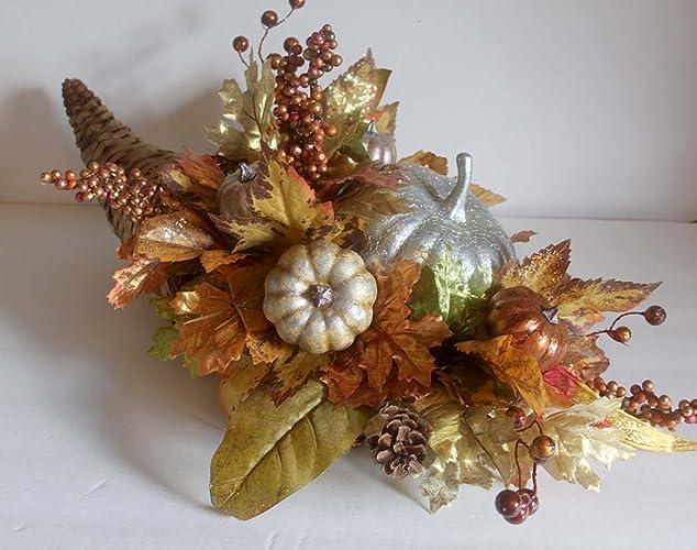 Amazon Fall Silk Flower Arrangement Fall Cornucopia