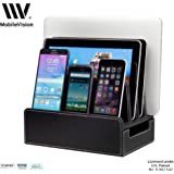 MobileVision Charging Station Slim Black Faux Leather Executive Stand and Docking Organizer for Multiple Devices, Smartphones, Tablets, & Laptops