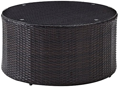 Crosley Furniture Catalina Outdoor Wicker Round Coffee Table with Glass Top - Brown (Wicker Round Coffee Table)