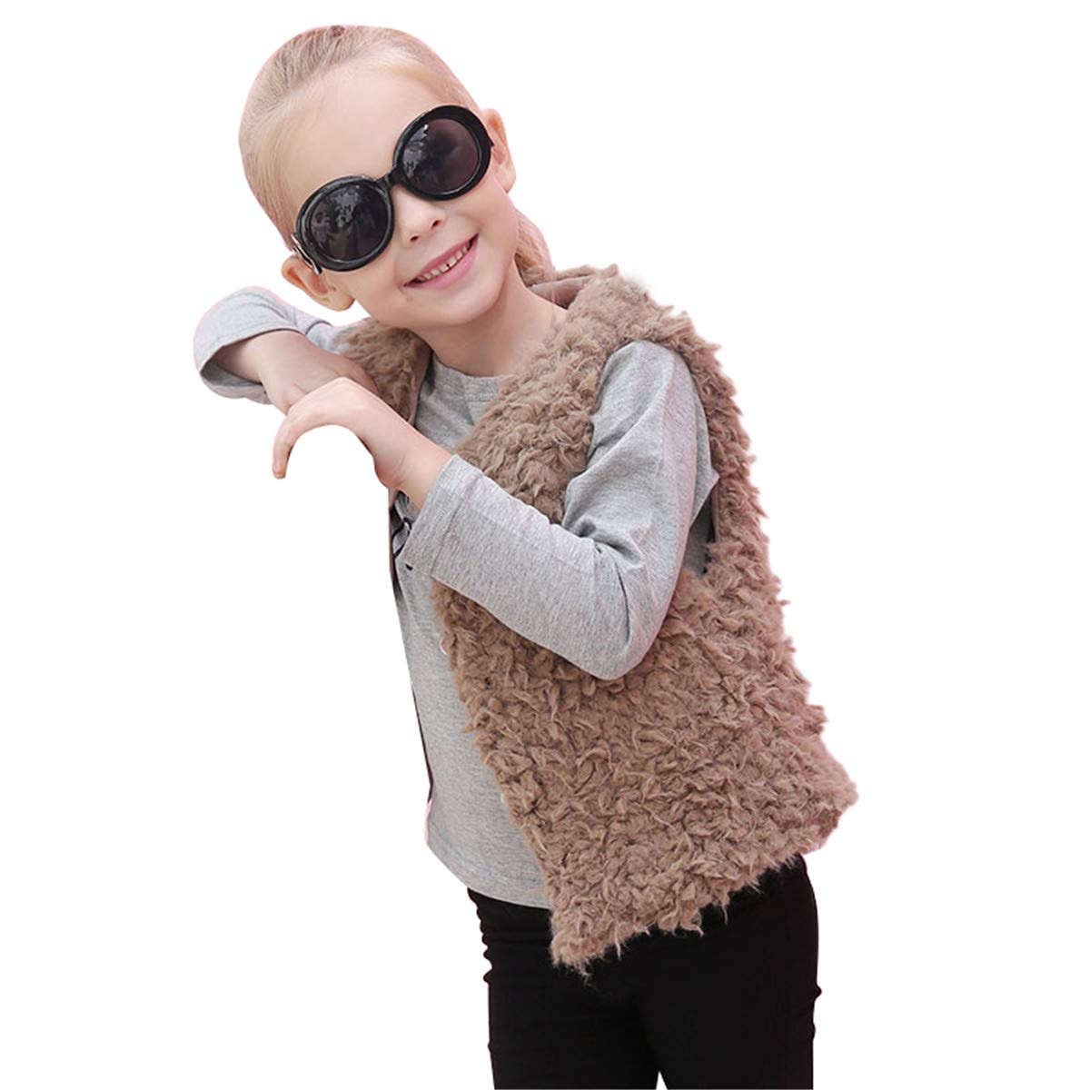 FUNOC Kids Baby Faux Fur Waistcoat Fashion Short Vest Jacket Coat Girl