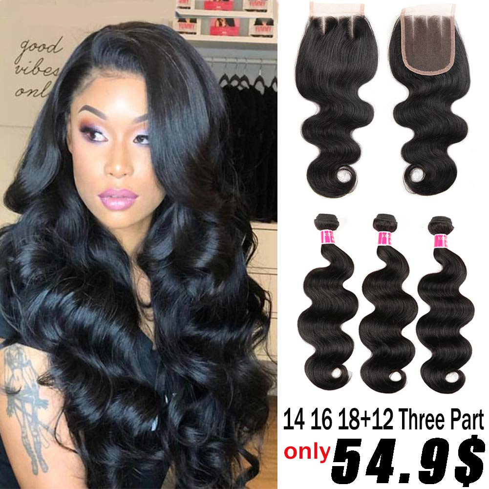Brazilian Body Wave Bundles with Closure (14 16 18+12 closure) 8A Unprocessed Virgin Body Wave Human Hair with Closure 3 Bundles with 4x4 Closure Three Part by Gagaqueen hair