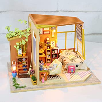 QAZX Manualidades Muebles De Casa De Muñecas De Madera Mini Casa De Muñecas Suite DIY Casa De Muñecas Juguetes para Niños Regalo De Cumpleaños: Amazon.es: Juguetes y juegos