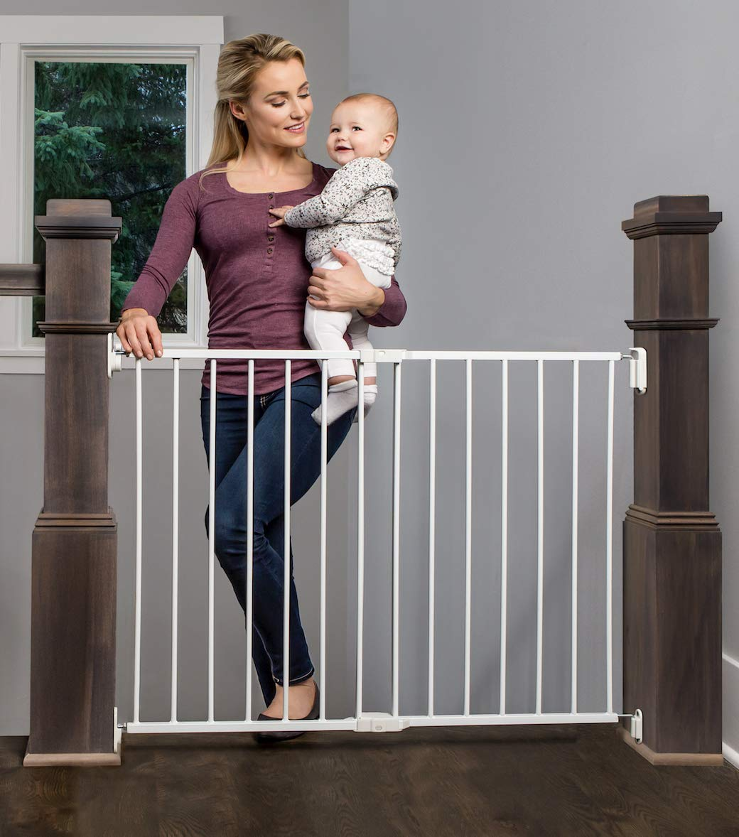 Regalo 2-in-1 Extra Wide Stairway and Hallway Walk Through Baby Safety Gate with Mounting Kit