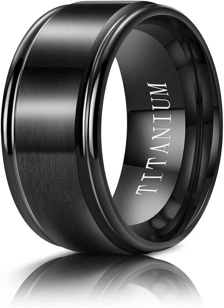 M MOOHAM Titanium Rings 4MM 6MM 8MM 10MM Wedding Bands Matte Comfort Fit for Men, Black, Gold, Silver, Blue, Silver and Gold