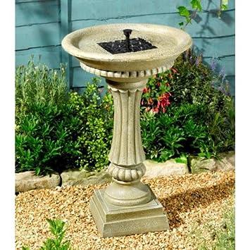Fontaine solaire bain d oiseaux, finition pierre, avec batterie ...