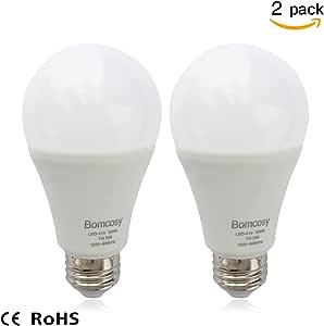 Bomcosy 7W A19 E26 LED Bulbs, 60 Watt Incandescent Bulbs Equivalent,650 Luminous,220 Degree Wide Beam Angle,E26 Base,Not Dimmable,3000K Warm White,Pack of 2 Units