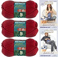 Bernat Softee Chunky Yarn Bundle Super Bulky No. 6, 3 Skeins Berry Red 28705