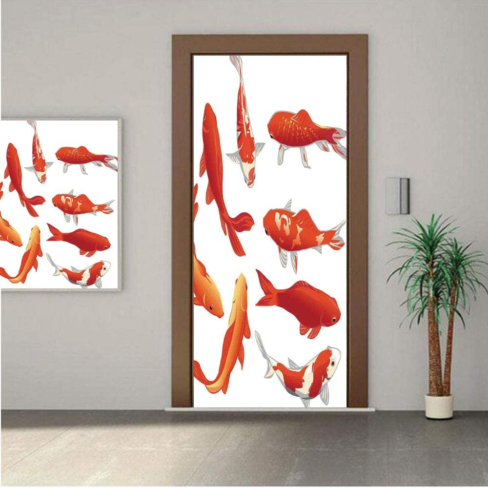 Ylljy00 Ocean Animal Decor ONE Piece Door Stickers,Koi Fish Band Chinese Good Fortune and Power Icon Tranquil 28x80 Peel & Stick Removable Wall Mural,Decal,Poster for Door/Wall/Fridge Home Decor