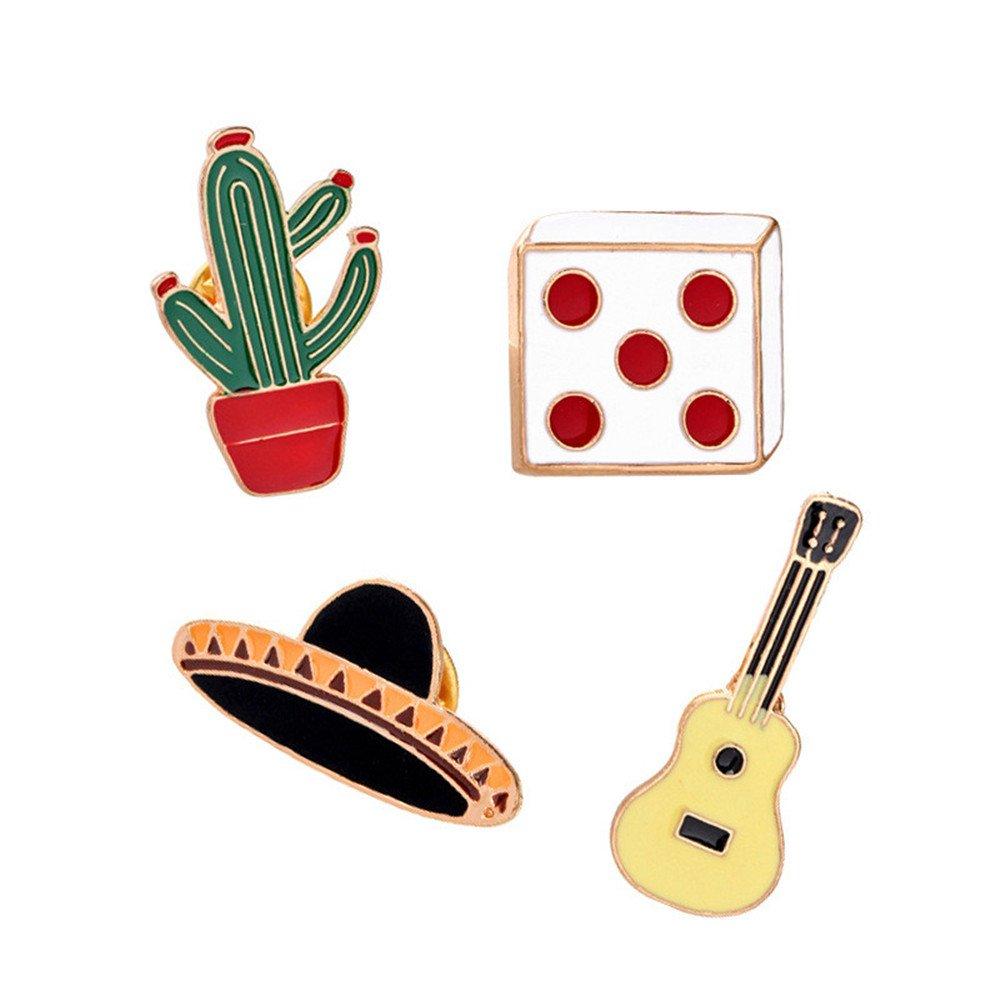 MJartoria 4 Pcs Women Cute Cartoon Brooch Set Novelty Cactus Guitar Hat Enamel Lapel Pins Badge
