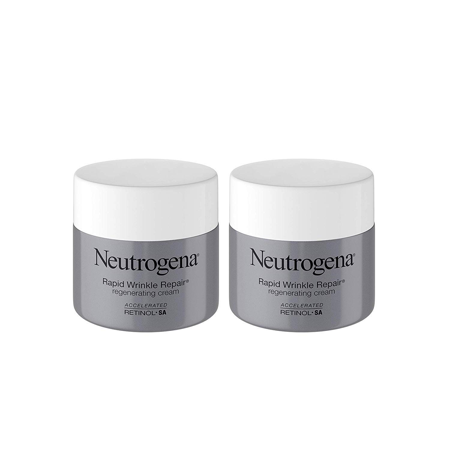 Neutrogena Rapid Wrinkle Repair Retinol Regenerating Face Cream & Hyaluronic Acid Anti Wrinkle Face Moisturizer 1.7 oz (2 Pack)