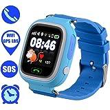 UKXHY Kinder Smartwatch, Anti-verlorene GPS-Tracker Smart Watch für Kinder Mädchen Jungen Kompatibel für iPhone Android (Blau)
