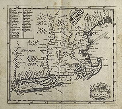 New York Map 1800.Amazon Com Historic 1700 Map A New Map Of New England And New