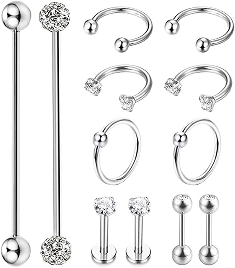 Masedy 12Pcs Stainless Steel Industrial Barbell Cartilage Piercing Earrings for Women Men Hoop Helix Tragus Labret Piercing