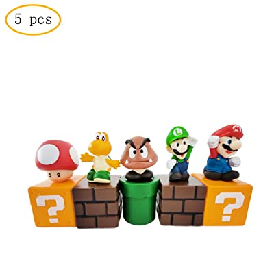 5 pcs pieces of Mario cake topper, Mario party supplies, kids birthday cake decoration.: Toys & Games