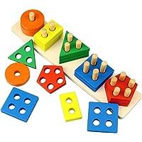 Kingwell Wooden Intellectual Geometric Shape Matching Five Column Blocks Educational & Learning Toys