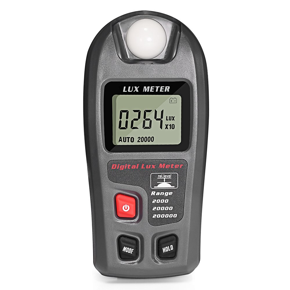 Dostyle Light Meter, Digital Illuminance Lux Meter with LCD Display (Range: 0.1 ~ 200,000 Lux and 0.01 ~ 20,000 Fc)