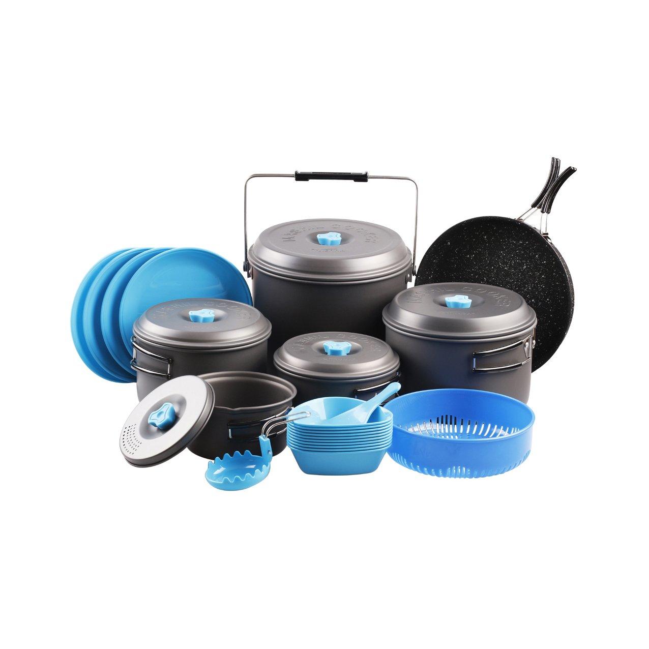 Tierra Aluminum Outdoor Camping Cookware Bowl Pot Pan Set Mess Kit For 11 Persons