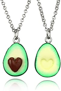 HooAMI Avocado BFF Friendship Necklace Pendant Heart Love Present Necklace 2pcs