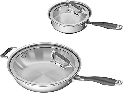 Amazon Com Cookcraft By Candace Stainless Steel 4 Piece Tri Ply Essential Cookware Set Silicone Handles And Glass Lid With Convenient Rim Latch Ccb 7012 Kitchen Dining