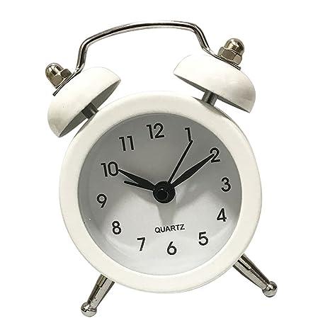 D DOLITY Reloj de Alarma de Escriotorio de Metal de Dos ...