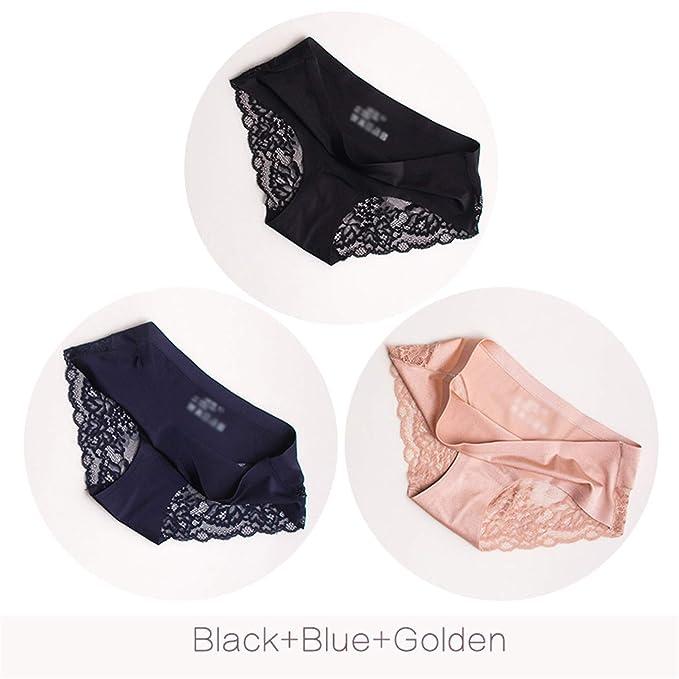 310200cc56e5 Image Unavailable. Image not available for. Color: Coac3 Sexy Lace Panties  Seamless Women Underwear Briefs Nylon Silk Cotton Lingerie 3 Pcs Set