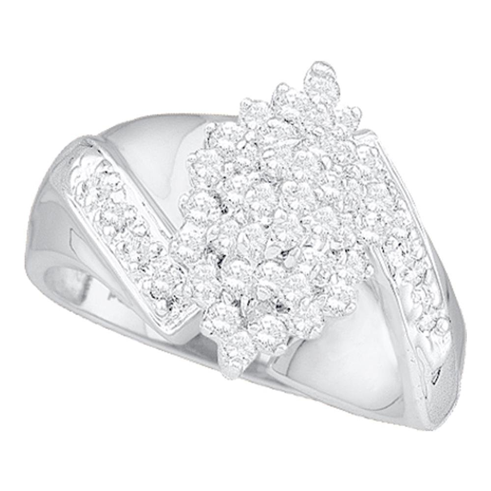 Flower Round Diamond Cluster Ring Solid 10k White Gold Cocktail Band Marquise Shape Fashion Style 1/2 ctw by GemApex