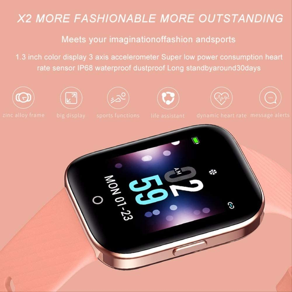 DAJUZI Smart Watch Ip68 Impermeabile Cardiofrequenzimetro Fitness Tracker Cronometro Pedometro Smartwatch Modello Sportivo Smartwatch Uomo Donna Nero